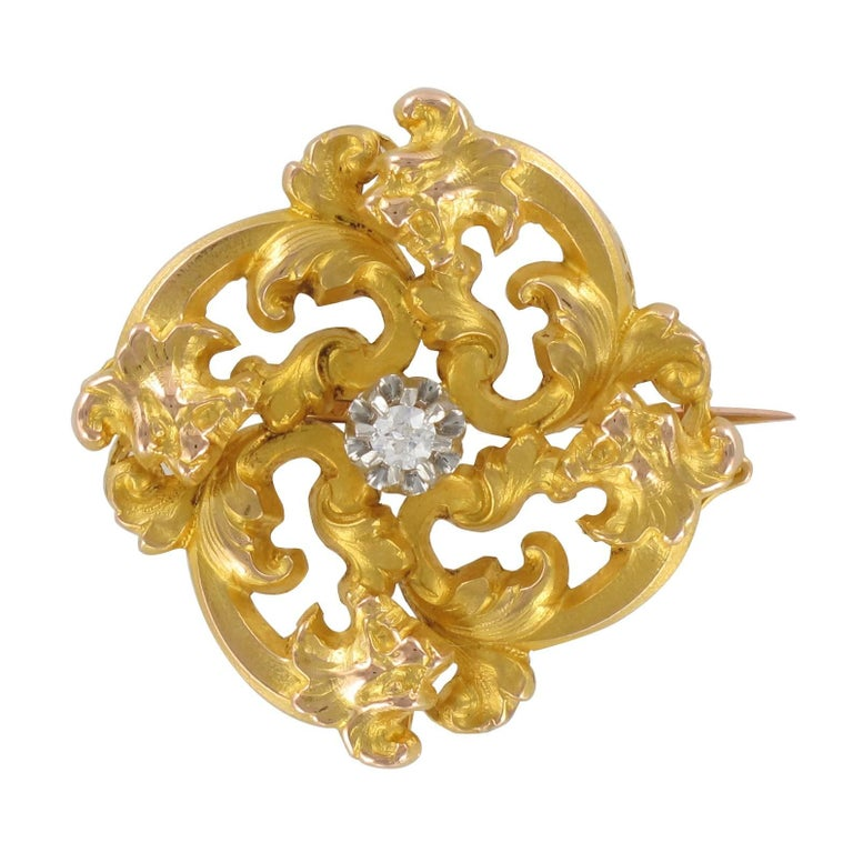 Wiese Spirit French Art Nouveau Yellow Gold Diamond Brooch