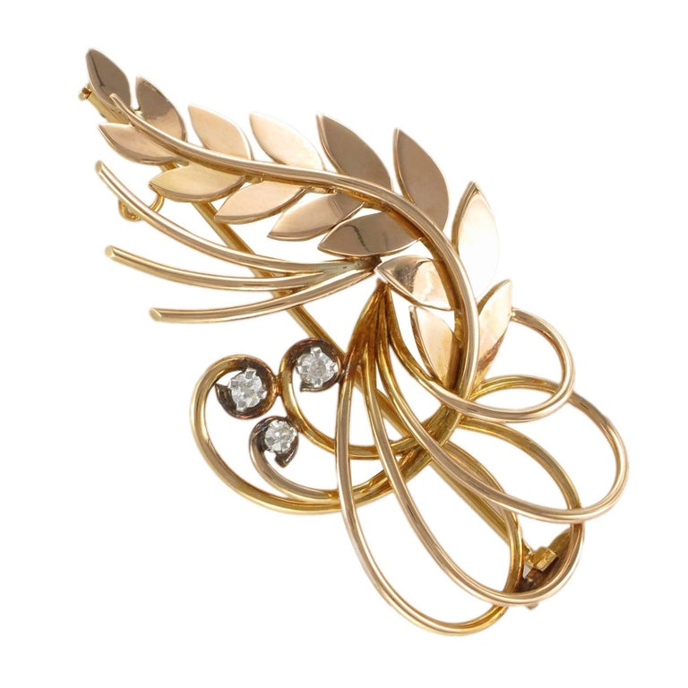 1960s Vintage Diamond 18 Karat Rose Gold Brooch Pendant Necklace