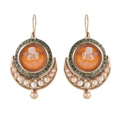 Italian Cameo Pearls Vermeil Drop Earrings