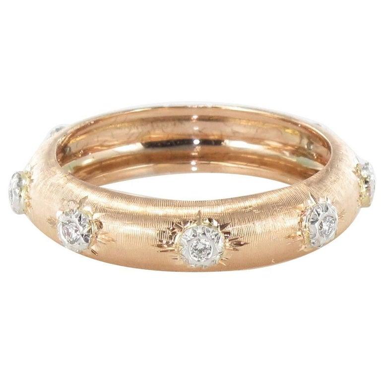 New Diamond Satin Gold Band Ring