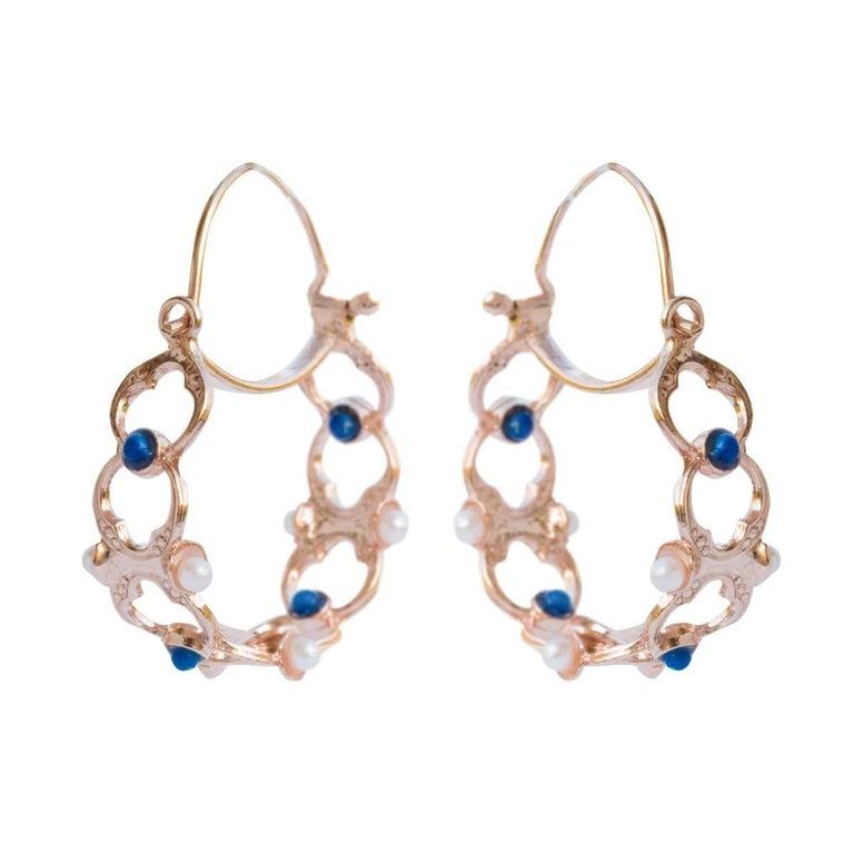 Italian Silver Rose Gold Hoop Earrings