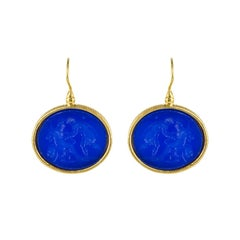 New Italian Blue Intaglio Vermeil Pendant Earrings