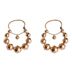 "French 19th Century 18 Karat Rose Gold ""Tarine"" Hoop Earrings"