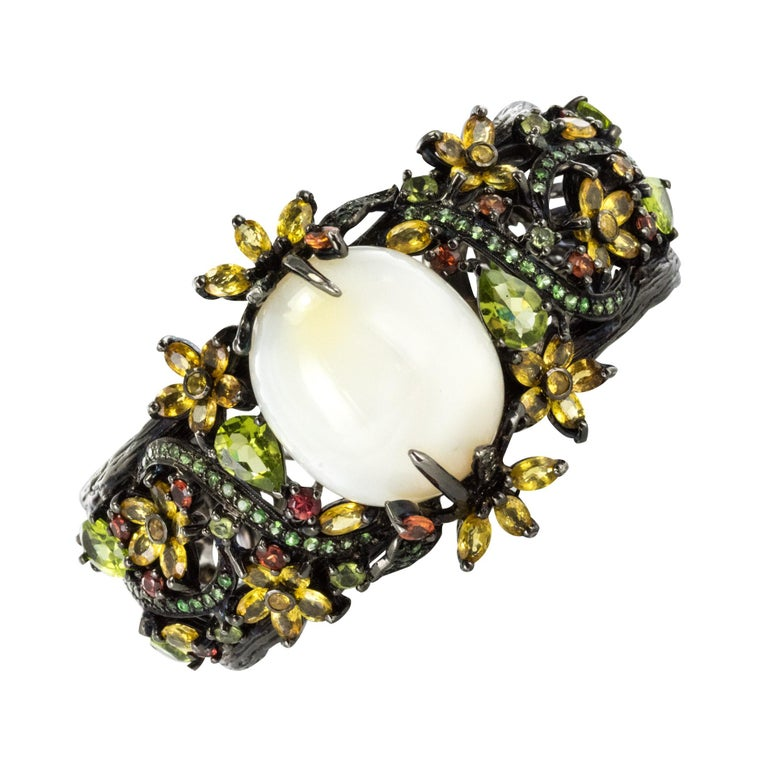 New Opal Precious Stones on Black Rhodium Silver Cuff Bracelet