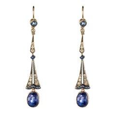Art Deco Style Sapphire Diamond Dangle Earrings