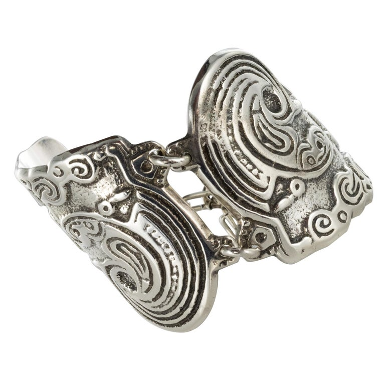 1970s Buffet Signed Engraved Silver Cuff Bracelet