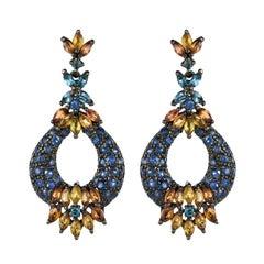 Modern 7.50 Carat Orange and Blue Sapphire Topaz Silver Dangle Earrings