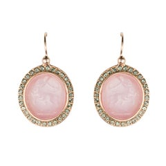 Italian Cameo Cristal Vermeil Drop Earrings