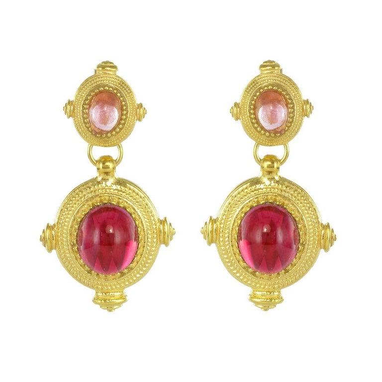 New Etruscan Style Vermeil Cristal Dangle Earrings