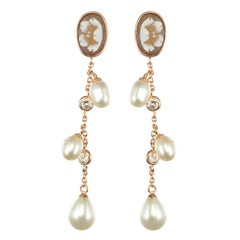 Italian Vermeil Shell Cameo Pearls Crystal Dangle Earrings