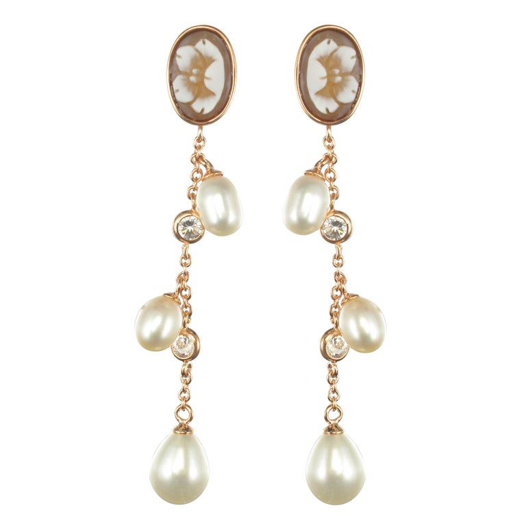 Italian Vermeil Shell Cameo Pearls Crystal Dangle Earrings