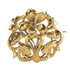 Art Nouveau Wiese Spirit 18 Karat Yellow Gold Antique Brooch