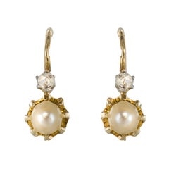 French 19th Century Diamond Natural Pearl Drop Earrings
