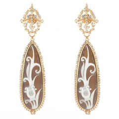 Italian Lyre Cameo on Shell Crystal Dangling Earrings