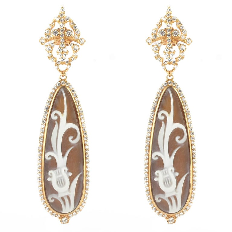 Italian Lyre Cameo on Shell Crystal Dangling Earrings