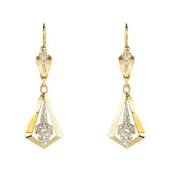 1930s Diamond 18 Karat Yellow White Gold Dangle Earrings