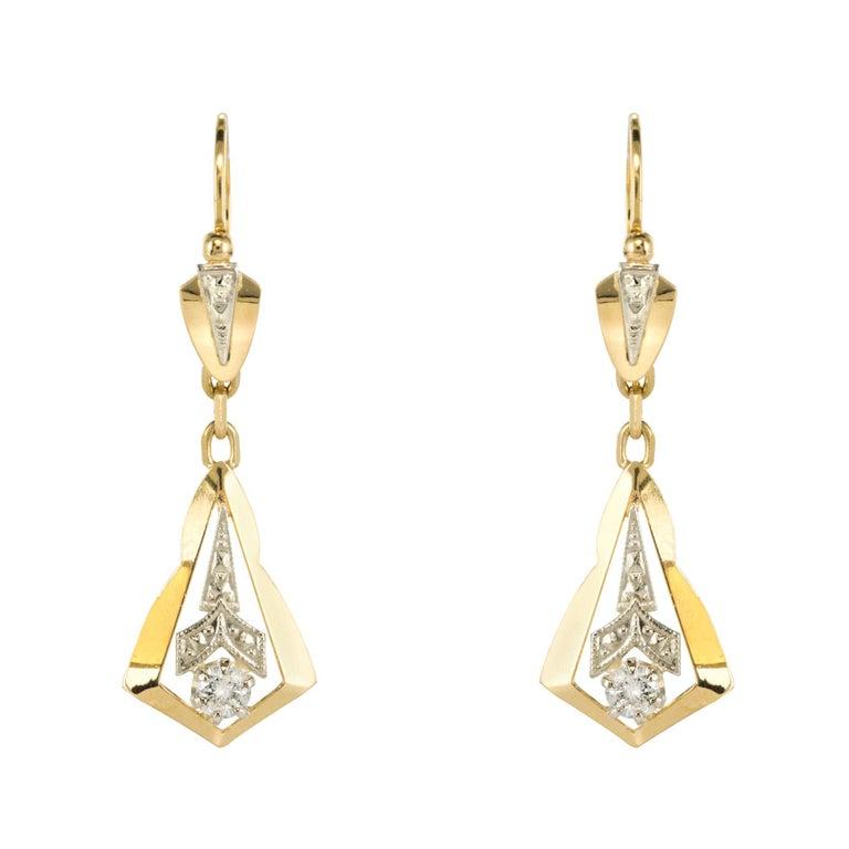 1930s Diamond 18 Karat Yellow White Gold Dangle Earrings