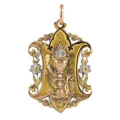 19th Century French Antique Yellow Rose White Green Gold Medal