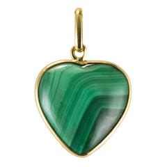 1950s Malachite 18 Karat Yellow Gold Heart Pendant