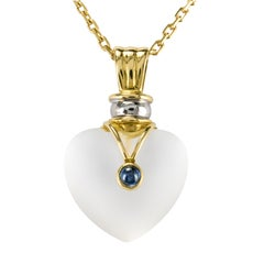 Modern Crystal Yellow Gold Heart Shape Pendant and Chain