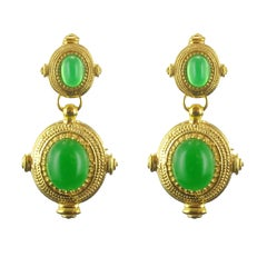 New Etruscan Spirit Vermeil Green Cristal Dangle Earrings