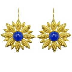 Italian Blue Crystal Vermeil Drop Earrings