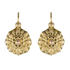 French 1900s Antique Yellow Gold Sleepers Earrings