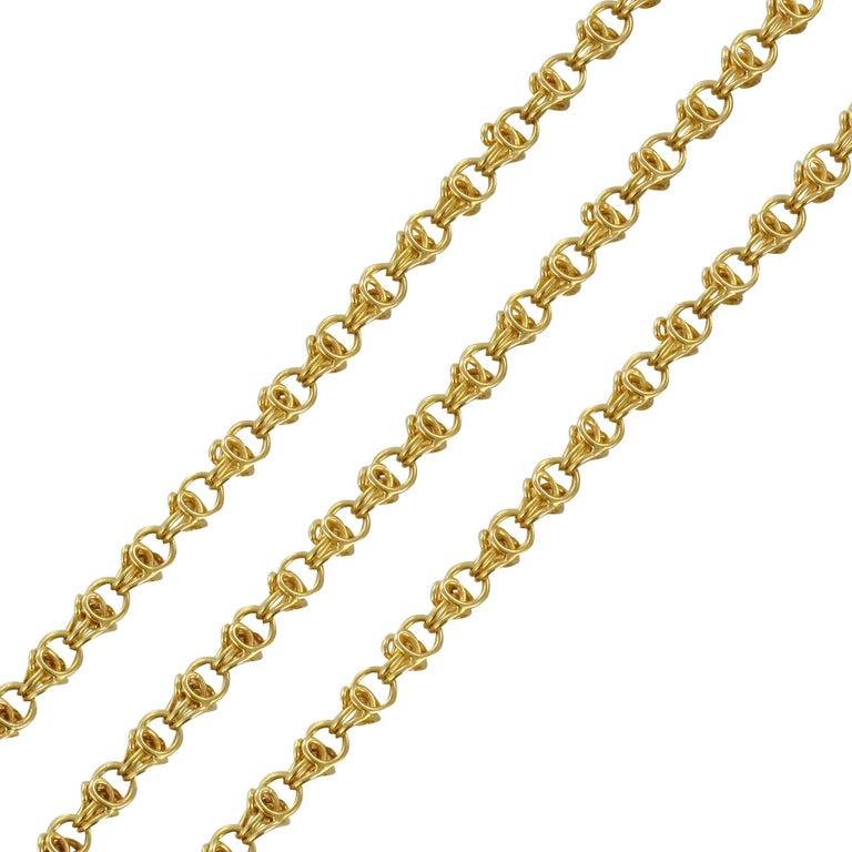 19th Century 18 Karat Yellow Gold Long Chain Matinee Necklace