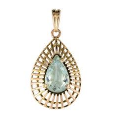 1960s 5.30 Carat Aquamarine Yellow Gold Pendant