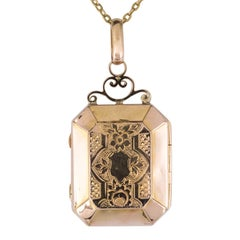 Napoleon III French Rectangular Rose Gold Chiseled Locket Pendant Medallion
