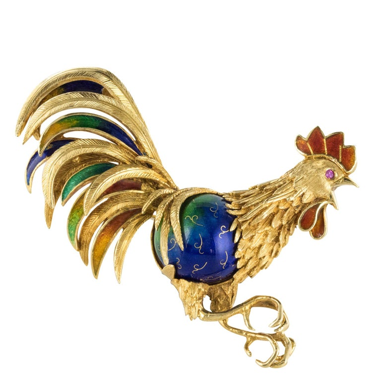 1950s Retro Italian Enamel 18 Karat Yellow Gold Rooster Brooch