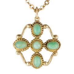 1960s Vintage 18 Karat Yellow Gold Amazonite Pendant Necklace and Chain