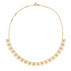 French Belle Époque Filigree 18 Karat Yellow Gold Drapery Necklace