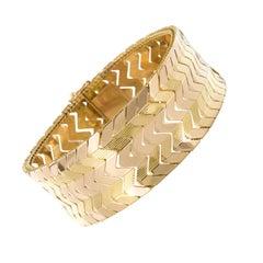 French 1960s Retro 18 Karat Yellow Gold Bracelet