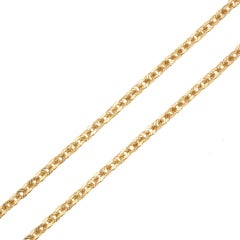 1900s French Chiseled 18 Karat Rose Gold Chain Necklace