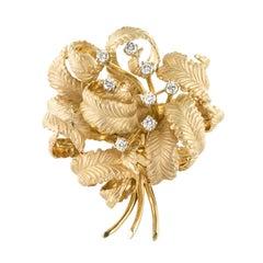 1960s Vintage Diamond Yellow Gold Brooch