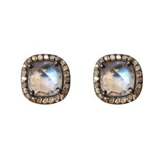 New Moonstones Diamonds Silver Stud Earrings