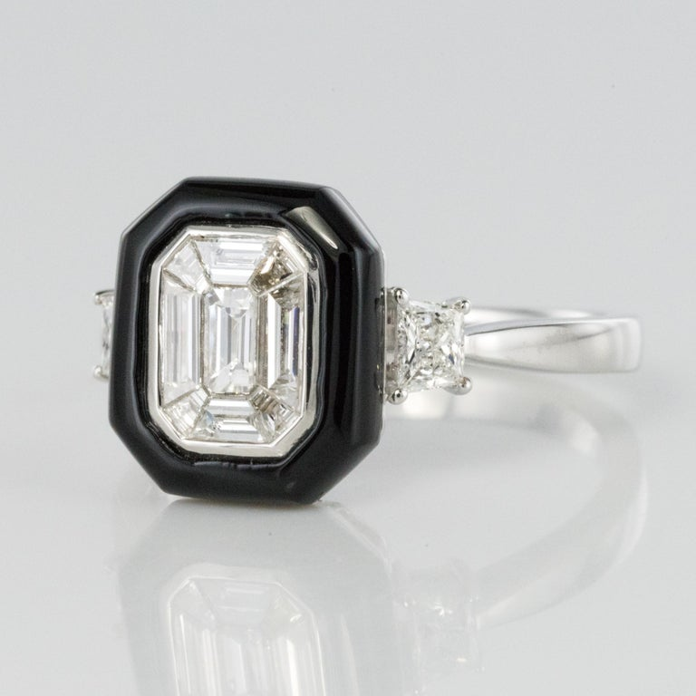Baguette Cut New Art Deco Style Baguette Diamond Black Agate Ring For Sale
