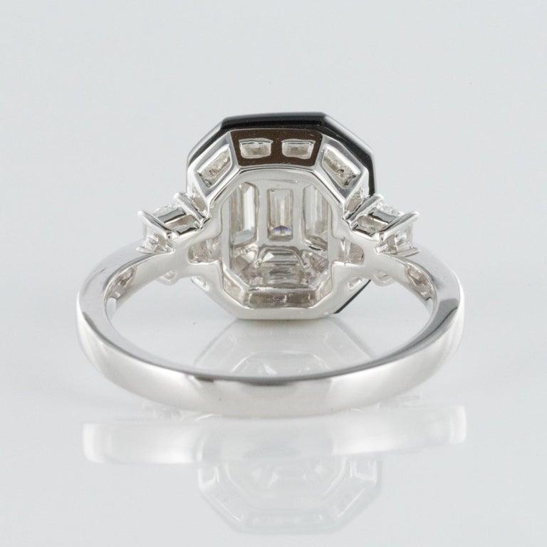 New Art Deco Style Baguette Diamond Black Agate Ring For Sale 2
