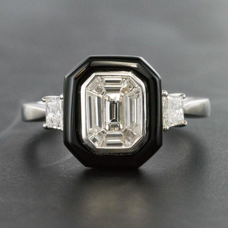New Art Deco Style Baguette Diamond Black Agate Ring For Sale 3