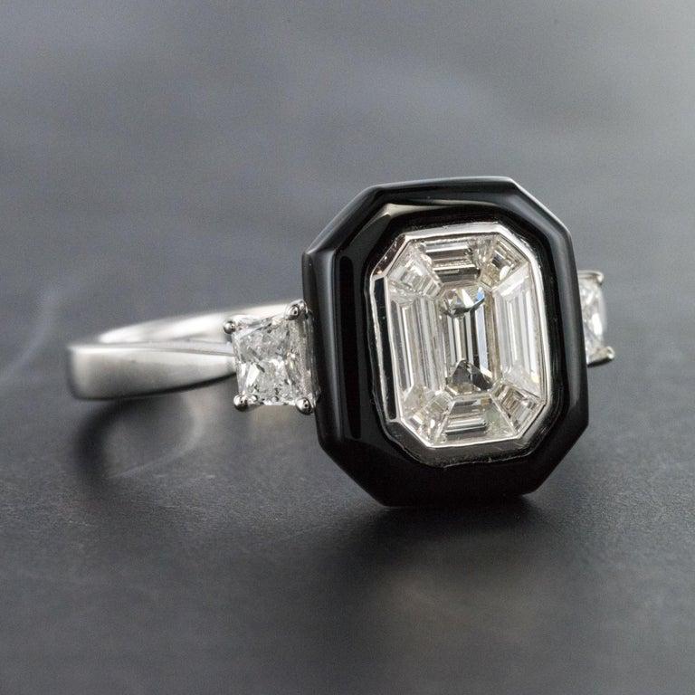 New Art Deco Style Baguette Diamond Black Agate Ring For Sale 4