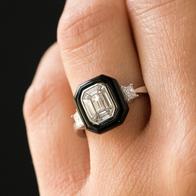 New Art Deco Style Baguette Diamond Black Agate Ring In New Condition For Sale In Poitiers, FR