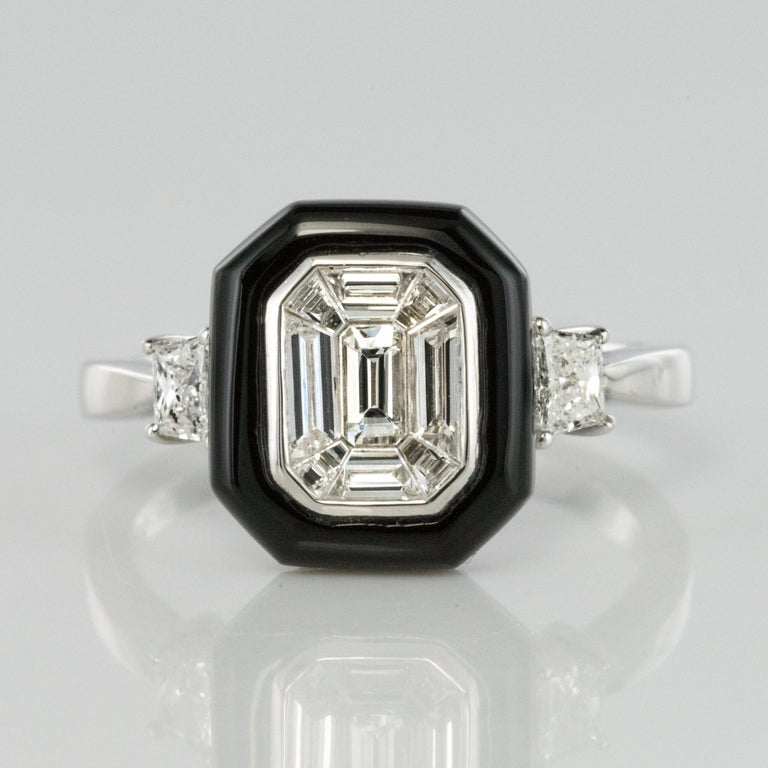 New Art Deco Style Baguette Diamond Black Agate Ring For Sale 6