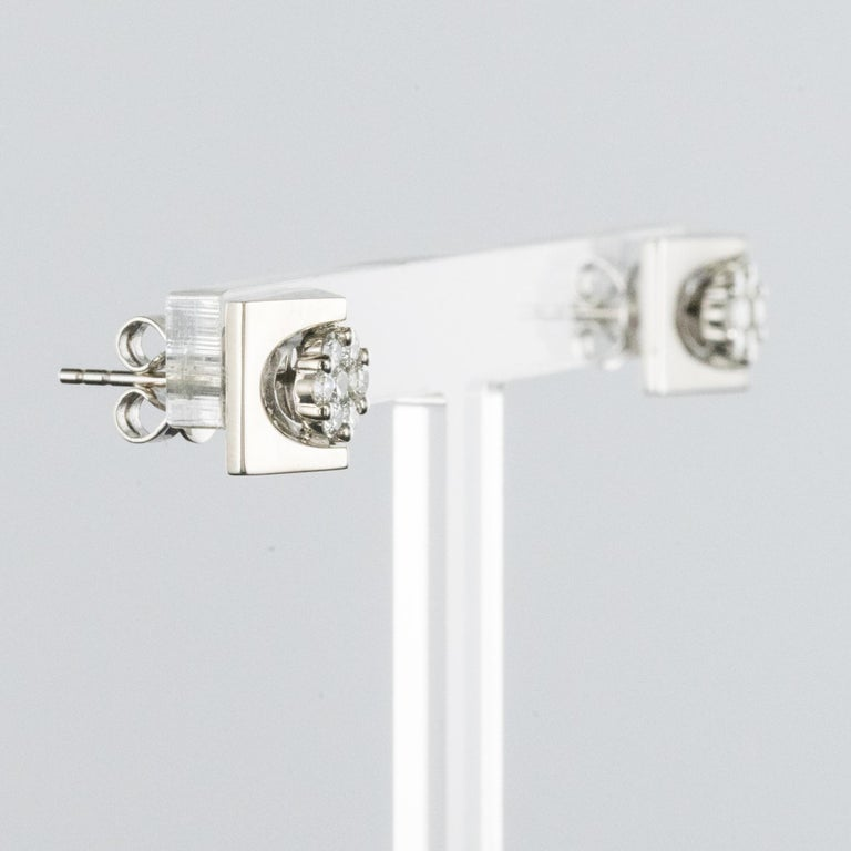 New 18 Karat White Gold Diamond Geometrical Stud Earrings For Sale 1