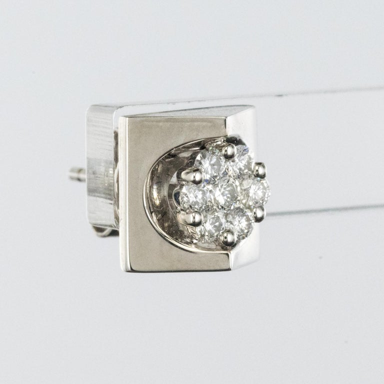 New 18 Karat White Gold Diamond Geometrical Stud Earrings In New Condition For Sale In Poitiers, FR