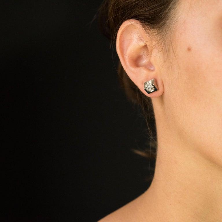 Women's New 18 Karat White Gold Diamond Geometrical Stud Earrings For Sale