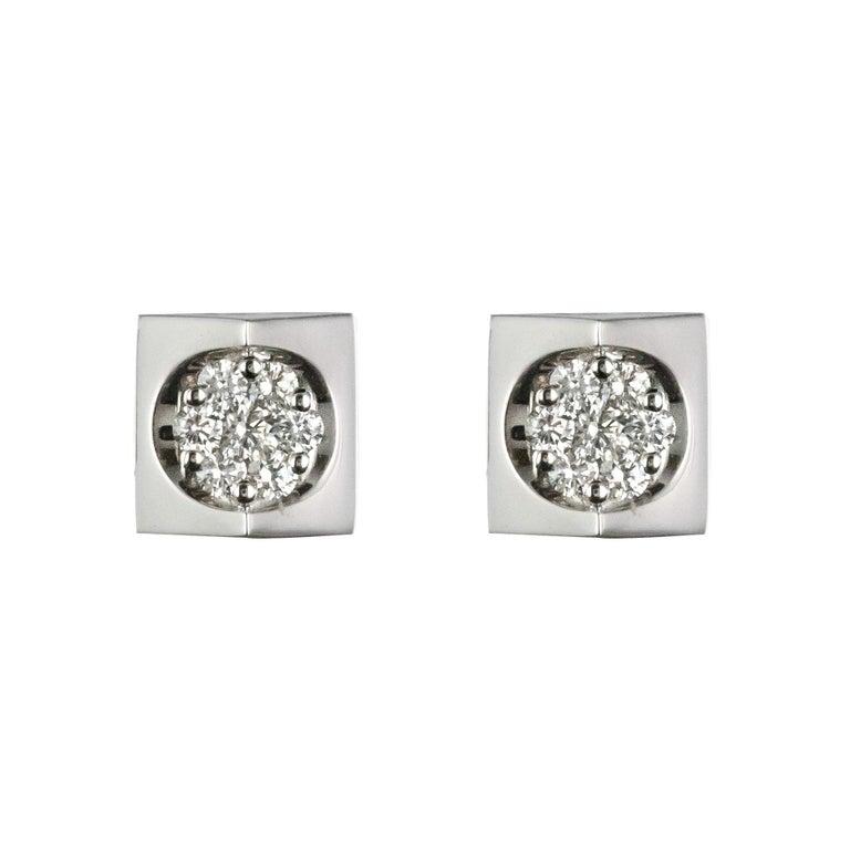 New 18 Karat White Gold Diamond Geometrical Stud Earrings For Sale