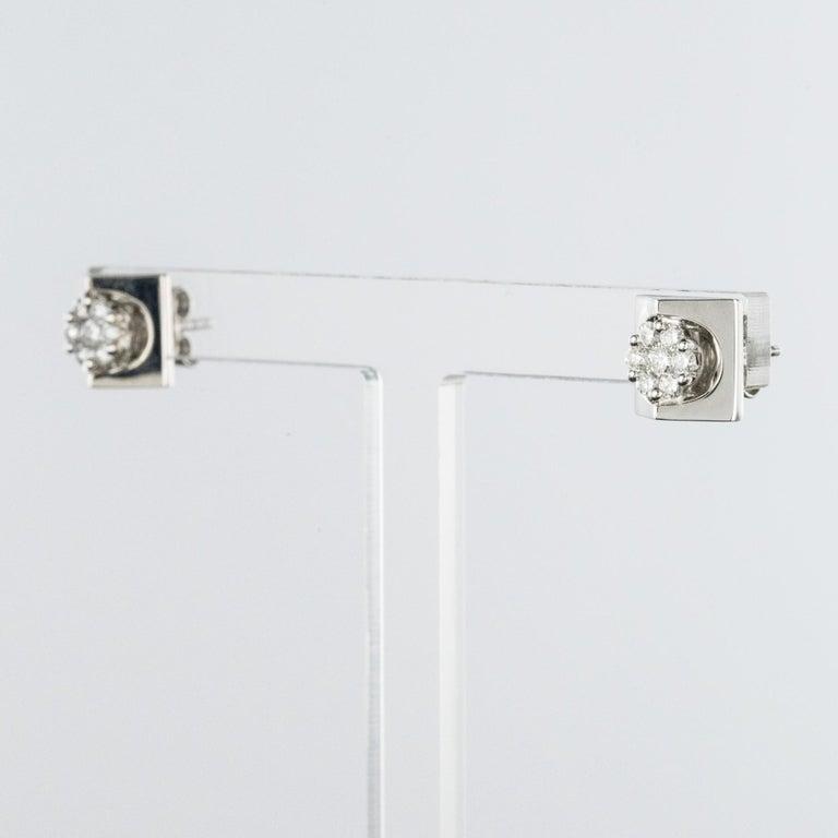 Modern New 18 Karat White Gold Diamond Geometrical Stud Earrings For Sale