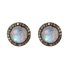 New Moonstones Diamond Silver Round Shape Stud Earrings
