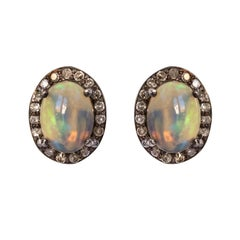 New Opals Diamonds Silver Stud Earrings
